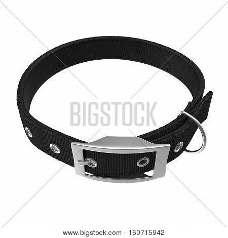Black Dogs collar on white background. 3D illustration