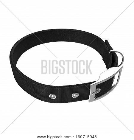 Black Dogs collar on white background. 3D illustration