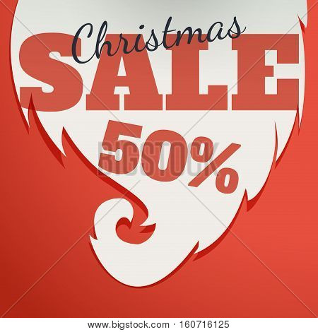 Vector Design template. Christmas Sale Text for Promotion on Christmas background.