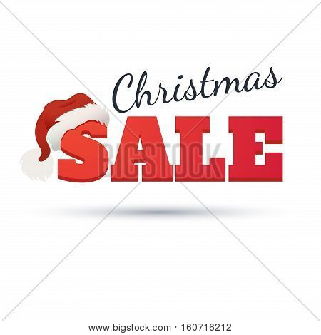 Vector Design template. Christmas Sale Text for Promotion on white background. The word sale in the cap of Santa Claus.