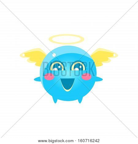 Angel Round Character Emoji. Cute Emoticon In Cartoon Childish Style Isolated On White Background.