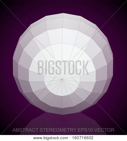 Abstract stereometry: low poly White Sphere. 3D polygonal object, EPS 10, vector illustration.