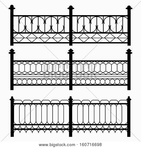 fences isolated black symbols collection vector royalty free stock illustration