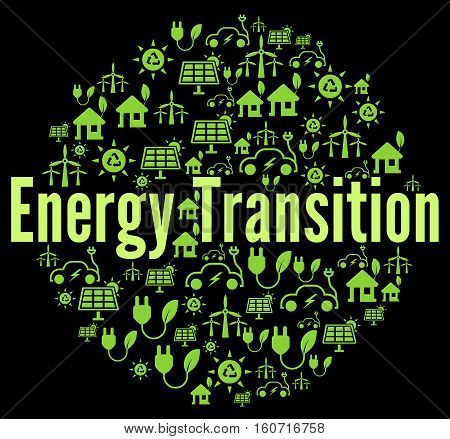 Energy transition concept illustration with a black bakground