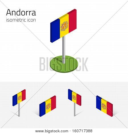 Andorran flag (Principality of Andorra) vector set of isometric flat icons 3D style different views. Editable design elements for banner website presentation infographic poster map. Eps 10