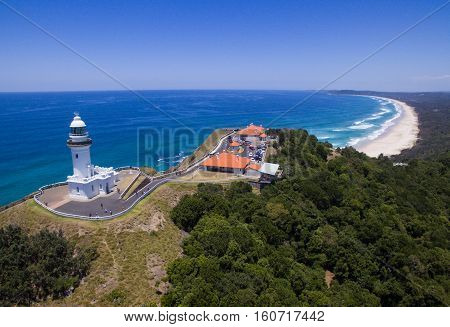 Drone view of Byron Bay lighthouse the most easterly point in mainland Australia