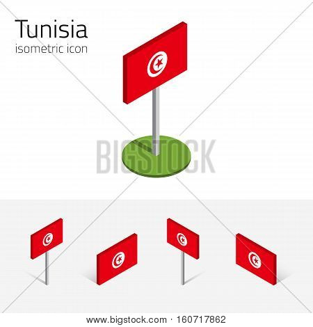 Tunisian flag (Republic of Tunisia) vector set of isometric flat icons 3D style different views. Full editable design elements for banner website presentation infographic poster map. Eps 10