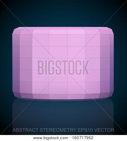 Abstract stereometry: low poly Pink Cylinder. 3D polygonal object, EPS 10, vector illustration.