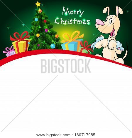 funny xmas design with christmas tree and dog hold doll - vector illustration