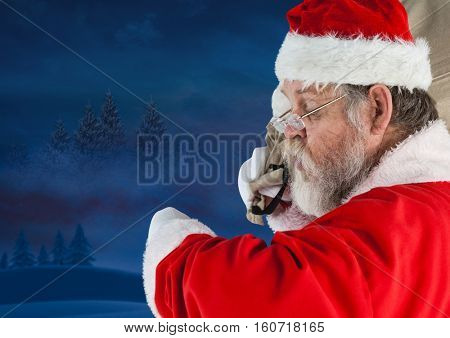 Santa checking the time at night