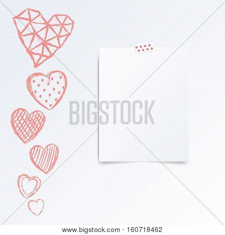 Folded in half leaflet. Mock up template vector illustration isolated on white. Set of hand drawn red hearts with cells, polka dots, triangles, lines on white background. Greeting card on valentines day.