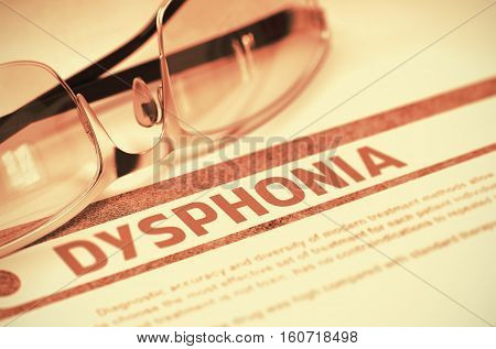 Dysphonia - Medical Concept with Blurred Text and Spectacles on Red Background. Selective Focus. 3D Rendering.