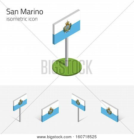 Republic of San Marino flag vector set of isometric flat icons 3D style different views. 100% editable design elements for banner website presentation infographic poster map. Eps 10