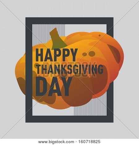 Vector illustration pumpkin. Happy thanksgiving day postcard with pumpkin. Modern postcard cartoon style with gradient. Autumn holiday postcard. Season harvest sweet ripe vegetable.