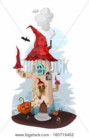 vector halloween illustration with a withc and a ghost