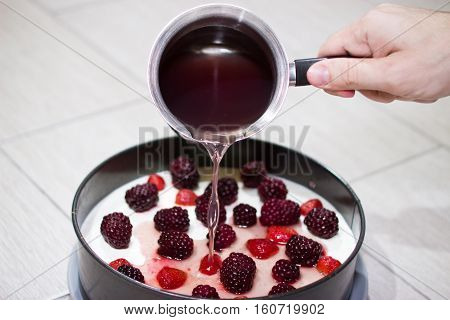 Cooking Berry Cheesecake.