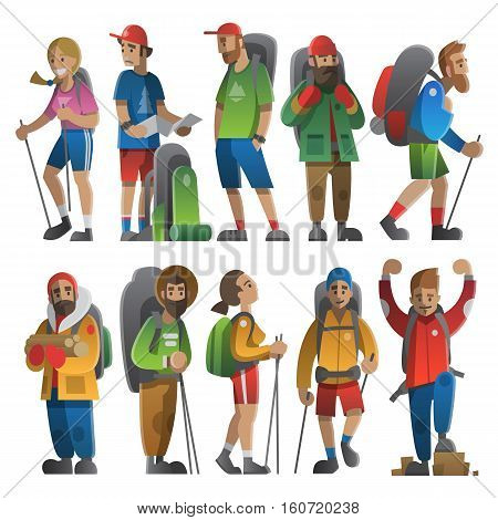 Vector illustration on the theme of hiking backpacking climbing traveling trekking walking. Big set of hiking people. Adventure in nature outdoor recreation vacation. For postcard banner web.