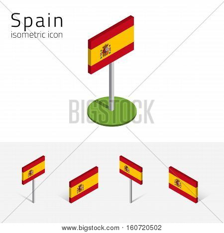 Spanish flag (Kingdom of Spain) vector set of isometric flat icons 3D style different views. 100% editable design elements for banner website presentation infographic poster map. Eps 10