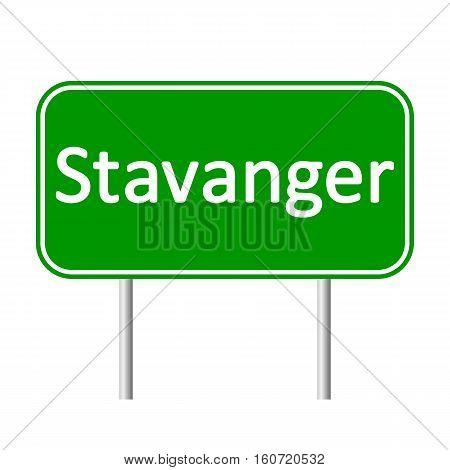 Stavanger road sign isolated on white background.