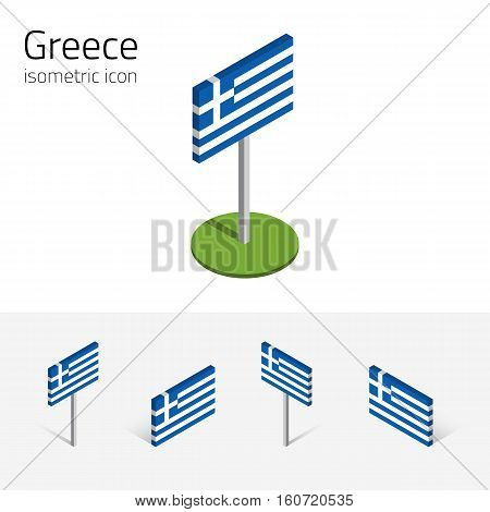 Greece flag (Hellenic Republic) vector set of isometric flat icons 3D style different views. 100% editable design elements for banner website presentation infographic poster map. Eps 10