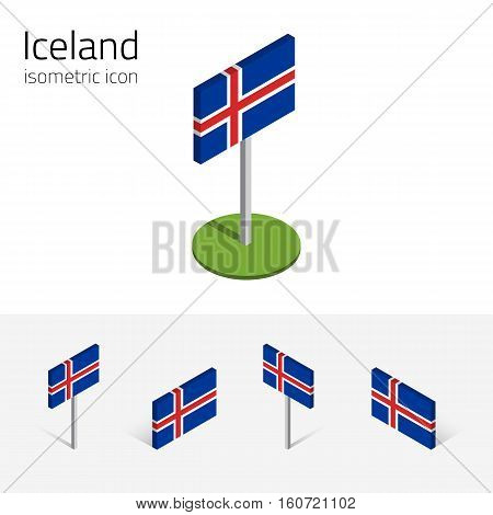 Icelandic flag (Republic of Iceland) vector set of isometric flat icons 3D style different views. Editable design elements for banner website presentation infographic poster map. Eps 10