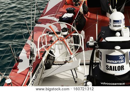China's only sailing boat 'Volvo Ocean 65 Dongfeng' in Cape Town. November 15, 2014 - Cape Town, South Africa, Volvo Ocean Race 2014-2015