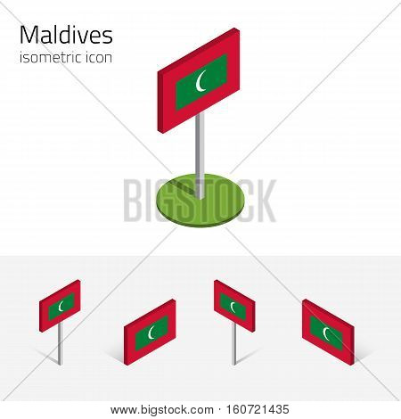 Maldivian flag (Republic of Maldives Maldive Islands) vector set of isometric flat icons 3D style. Editable design elements for banner website presentation infographic poster map. Eps 10