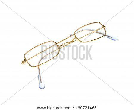 simple eyeglass, golden frame, isolated on white background