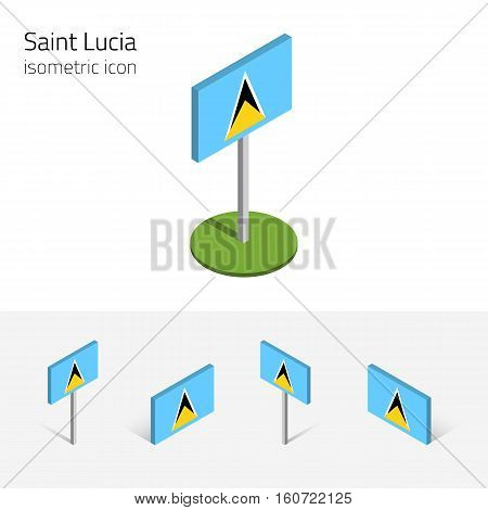 Saint Lucia flag vector set of isometric flat icons 3D style different views. 100% editable design elements for banner website presentation infographic poster map collage. Eps 10