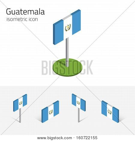 Guatemalan flag (Republic of Guatemala) vector set of isometric flat icons 3D style different views. Editable design elements for banner website presentation infographic poster map. Eps 10