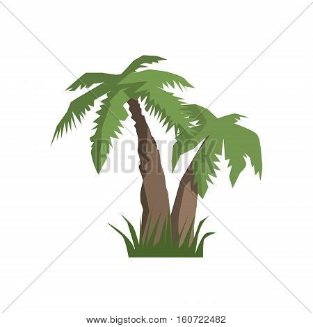 Two Palm Trees Jungle Landscape Element. Simple Tropical Forest Object Illustration Isolated On White Background.