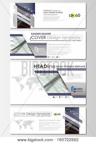 Social media and email headers set, modern banners. Business cover template, easy editable vector, flat layout in popular sizes. Abstract waves, lines and curves. Dark color background. Motion design