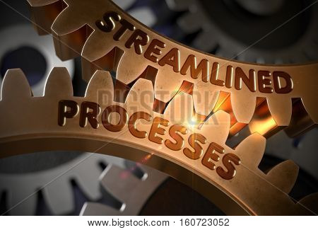 Streamlined Processes - Concept. Streamlined Processes - Illustration with Glowing Light Effect. 3D Rendering.