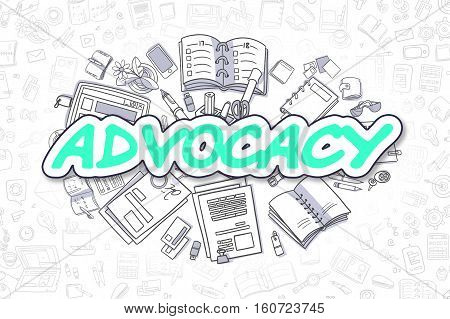 Doodle Illustration of Advocacy, Surrounded by Stationery. Business Concept for Web Banners, Printed Materials.
