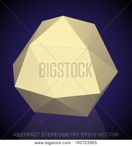 Abstract geometry: low poly Yellow Octahedron. 3D polygonal object, EPS 10, vector illustration.
