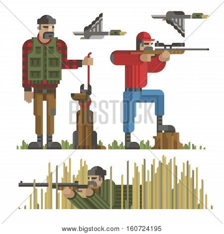 Set of hunters silhouette in different poses with weapon gun rifle dog duck. Modern geometric flat style. Hunters for design web infographic. Isolated vector illustration on white background.
