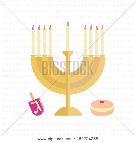Menorah with candles, a dreidel and a bun with jam. Vector illustration.