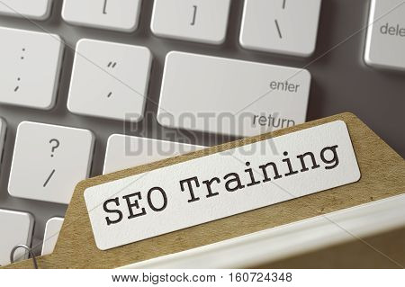 SEO Training Concept. Word on Folder Register of Card Index. File Card Concept on Background of Modern Metallic Keyboard. Closeup View. Selective Focus. Toned Image. 3D Rendering.