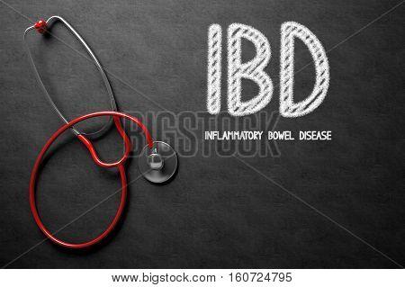 Black Chalkboard with IBD - Inflammatory Bowel Disease - Medical Concept. Medical Concept: Black Chalkboard with IBD - Inflammatory Bowel Disease. 3D Rendering.
