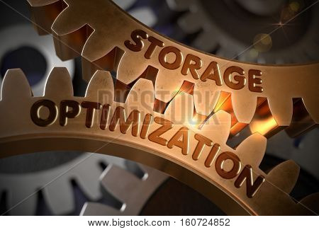 Storage Optimization - Illustration with Lens Flare. Storage Optimization on the Mechanism of Golden Cogwheels with Glow Effect. 3D Rendering.