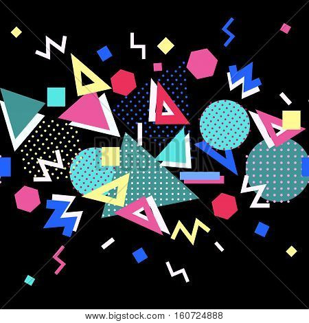 Memphis trendy seamless border with geometric shapes. Abstract 1980-90 styles or memphis style. Colorful geometric hipster poster background. Vector illustration stock vector.
