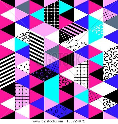 Memphis trendy seamless pattern with geometric shapes. Abstract 1980-90 styles or memphis style. Colorful geometric hipster poster background. Vector illustration stock vector.