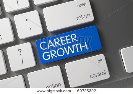 Career Growth Concept Aluminum Keyboard with Career Growth on Blue Enter Keypad Background, Selected Focus. 3D Illustration.
