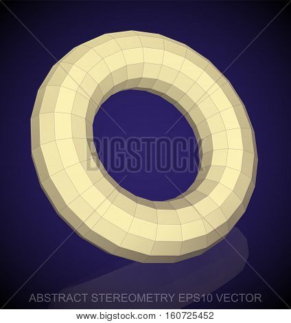 Abstract stereometry: low poly Yellow Torus. 3D polygonal object, EPS 10, vector illustration.
