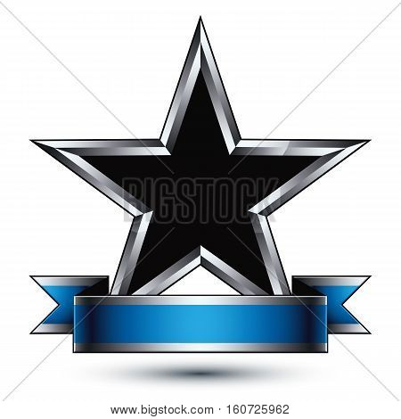 Vector glorious glossy design element luxury black 3d star with silver outline conceptual graphic template