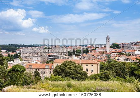Historic Center of Pula City view from the Venetian Fortress (Pula Castle), Croatia