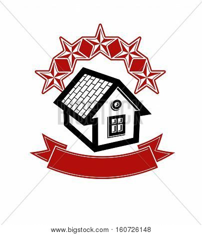 Simple house with five stars and classic ribbon. VIP apartment conceptual vector icon. Aristocratic building decorative design element.