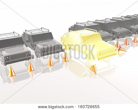 Gray cars and yellow car on white reflective background 3D illustration.