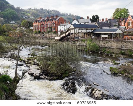 River Dee and Llangollen heritage steam railway station Wales