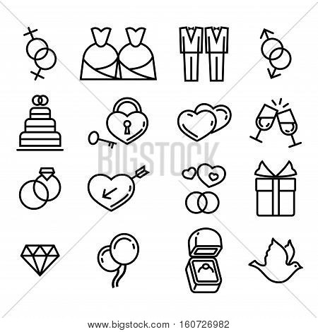 Vector gay wedding icons set linear style on white background illustration